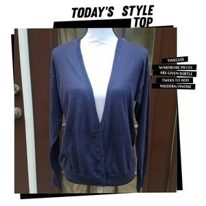 Gap navy blue cardigan with sheer print in back